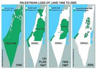نقشه اشغال سرزمین فلسطین توسط اسرائیل